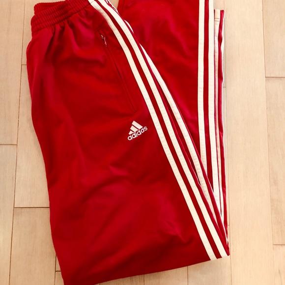 red adidas pants mens